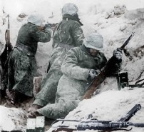 Soldiers of the Waffen-SS in the firefight with allied forces, fighting in the Bastogne, 1944.