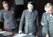 Hitler examines model of heavy fortifications and bunkers, September-October 1942.