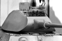 """A model depicting the curved front of the early, so called """"Porsche"""" turret."""