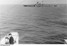 Bismarck, photographed from Prinz Eugen, in the Baltic at the outset of Operation Rheinübung.