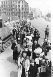 People of Wola district leaving the city after the failed Warsaw Uprising.