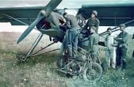 Fieseler Fi 156 'Storch' and captured British BSA M20.