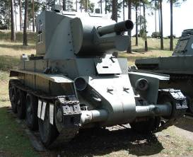 A Finnish BT-42 assault gun, a modification of the Soviet BT-7, on display at the museum.
