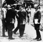 At Rastenburg on 15 July 1944. Stauffenberg at left, Hitler center, Keitel on right.