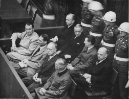 Nuremberg trials. Defendants in the dock. The main target of the prosecution was Hermann Göring (at the left edge on the first row of benches), considered to be the most important surviving official in the Third Reich after Hitler's death.
