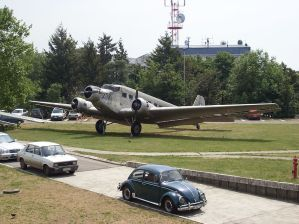 Junkers Ju-52/3m (exF-BBYB) outside the building Museum of Aviation Belgrade, Serbia.
