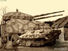 Photoshop photo of the Landkreuzer P. 1000 Ratte. It is in the background showing its sheer size. It was never built.