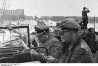 Fritz Witt (left) and Kurt Meyer (right), Kharkov, March 1943.