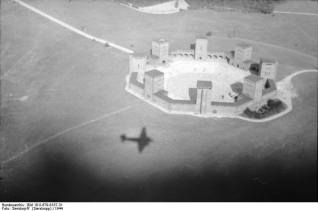 Aerial view of Tannenberg Memorial.