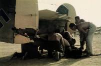 Damaged Messerschmitt Bf 110 taken in May 1941 following the entry of German forces to Greece, probably at Athens-Kalamaki airport. The number of technicians examining the tail wheel suggests that the damage was something out of the ordinary.