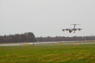The A400M lands in Wunstorf.