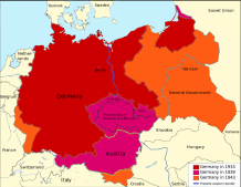 Territorial expansion of Germany from 1933 to 1943. Red: 1933; pink: 1939; orange: 1943.