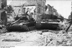 Possible knocked out Panzer IV and Tiger, June 1944.