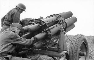 Nebelwerfer is made ready for use in Russia, 1942.