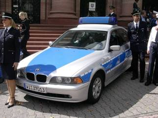 German State Police, typical officer uniforms and car colours.