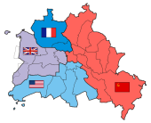 The four sectors of the Allied occupation of Berlin.