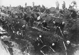 With all the men at the front, Moscow women dig anti-tank trenches around their city in 1941.