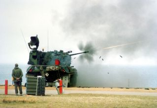A Gepard firing at the German army's Hohwacht Bay training area, 1987.