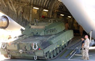 Canadian Leopard C2 uparmoured, en route to Afghanistan, October 2006.