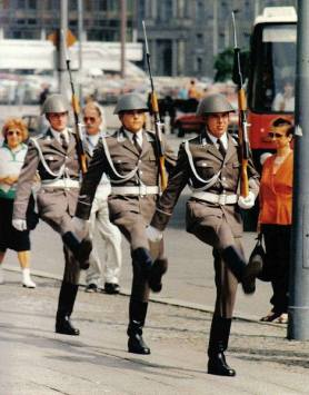 East German Nationale Volksarmee changing-of-the-guard ceremony, East Berlin.