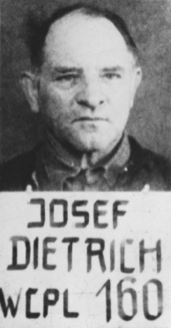Photograph of Sepp Dietrich in U.S. military custody.