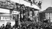 The bodies of Benito Mussolini (Far Left) and his mistress, Carla Petacci (Second from Left) hang from a gasoline station after they were shot by Anti-Facist forces while trying to escape to Switzerland on April 28, 1945.