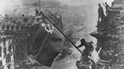 Iconic Photo of the End of the Battle of Berlin. Soviet Forces hang the red banner over the Reichstag on April 30th, 1945.
