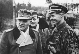 Dietrich meeting soldiers at the front during the Vistula–Oder Offensive, January 1945.