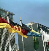 DDR flag at UN Headquarters, New York, 1973.