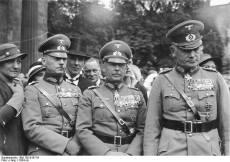 Rundstedt, Werner von Fritsch and Werner von Blomberg, at a memorial service, Unter der Linden, Berlin 1934.