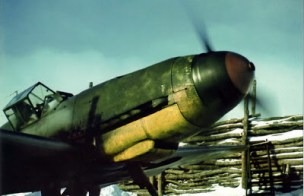 Warming up the engine of a Messerschmitt Bf 109 F-4 of the Hungarian squadron 5/1, in preparation for a training flight.