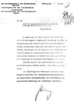 Göring's July 1941 letter to Reinhard Heydrich.