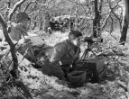 American 155mm artillery observation post near Duren, Germany - December 1944.