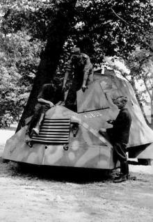 "Kubuś the Polish World War II armoured car, made by the Home Army during the Uprising. A single copy was built by insurgents from ""Krybar"" Group, on the chassis of a Chevrolet 157 van. It took part in the attack on Warsaw University."