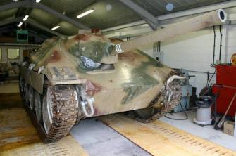 Hetzer being prepared for restoration.