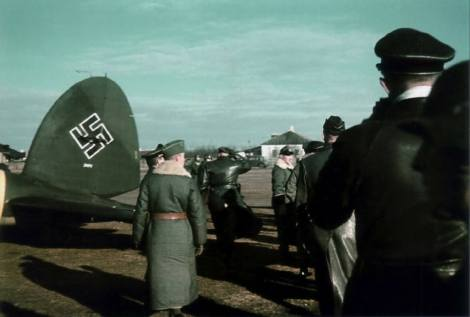 """A Heinkel He 111 P-2 """"CA+NA"""" (Werknummer 2471) part of """"Fliegerstaffel des Führers"""" (Führer's Air Squadron) in the spring of 1942 during a visit by Adolf Hitler to an airfield in the Southern sector of the Eastern Front."""