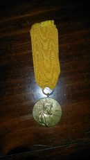 1897 Wilhelm I Centennial Medal with yellow ribbon.