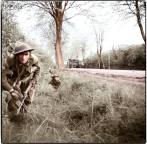 British soldiers advance on the 2nd of May 1945