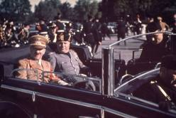 Adolf Hitler and Benito Mussolini during Hitler's 1938 state visit to Italy.