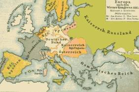 Europe after the Congress of Vienna. German Confederation (in cream color), with Prussia's (pink) and Austria's (orange) territories outside the Confederation.