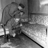 Soviets soldiers examining Hitler's Bunker.