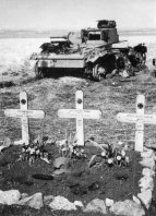 Panzer III and the graves of the crew.