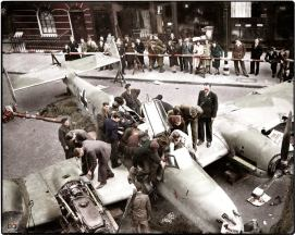 Crashed Messerschmitt BF 110 during the Battle of Britain.