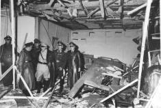 Herman Goring inspecting the Wolf's Lair conference room soon after the explosion.