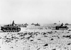 German Panzer Mk IIs and Mk IIIs cross the desert, June 1941.