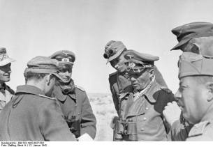 Rommel conversing with his staff near El Agheila, 12 January 1942.