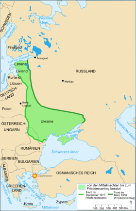 Front line at the time of cease-fire and at the time of the Treaty of Brest-Litovsk.