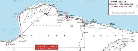 The Western Desert area, showing Rommel's first offensive 24 March – 15 June 1941.