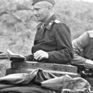 Balck in command vehicle in Greece, April 1941.