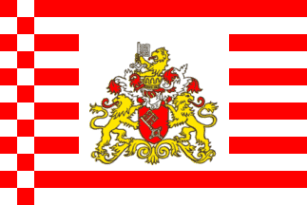State service flag of Bremen (with flag arms)
